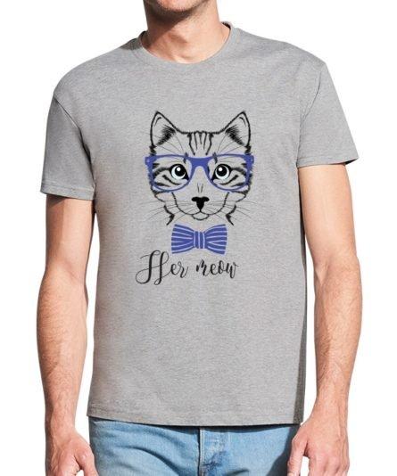 Marškinėliai su spauda poroms Her meow