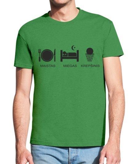 Vyriški marškinėliai su spauda Maistas miegas krepšinis