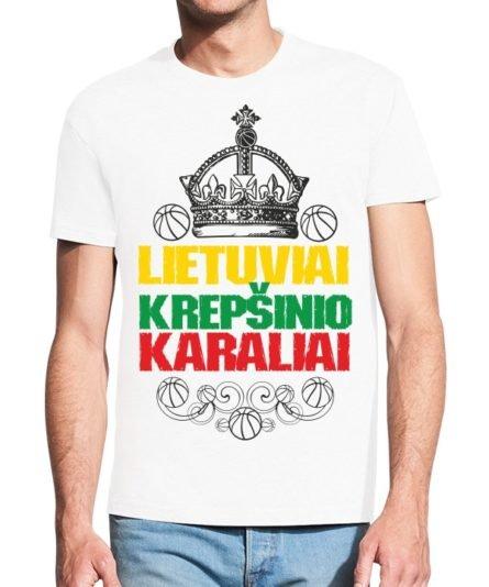 Vyrisški marškinėliai su spauda Lietuva krepšinio karalystė