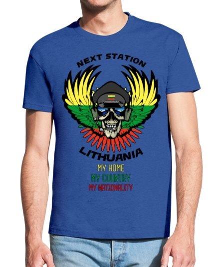 Vyriški marškinėliai su spaud Next station Lithuania