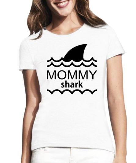 Moteriški marškinėliai su spauda Mommy shark