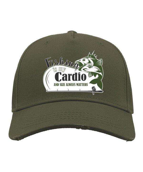 Universali laisvalaikio kepuraitė su snapeliu ir spauda Fishing cardio